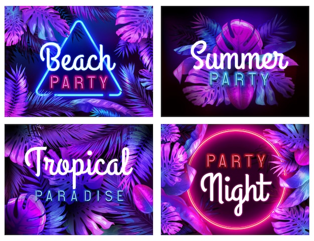Manifesto festa in spiaggia al neon. paradiso tropicale, notte di festa estiva e set di illustrazioni di foglie colorate al neon.