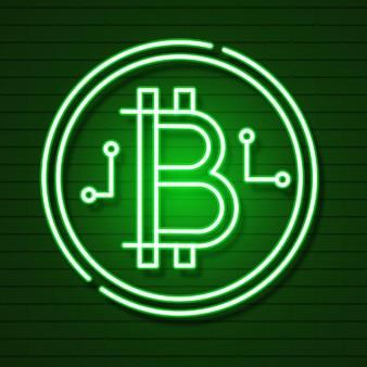 Simbolo di bitcoin al neon isolato su effetto nero background.light. denaro digitale, concetto di tecnologia mineraria. icona di vettore.