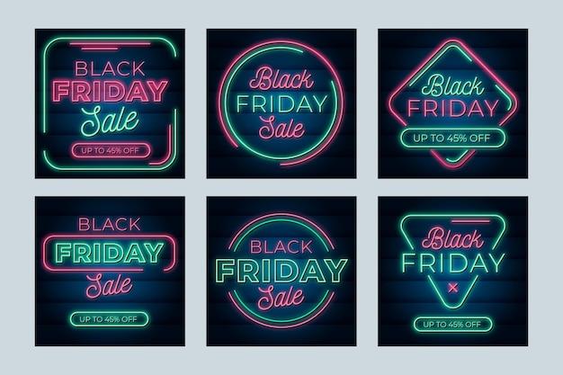 Post di instagram del venerdì nero al neon