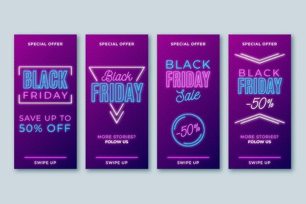 Storie di instagram del venerdì nero al neon