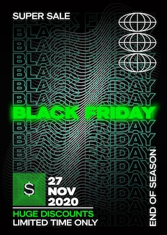 Neon black friday tipografia banner, poster o modello flayer. elementi decorativi astratti in una cornice. promozione di vendita o layout pubblicitario.