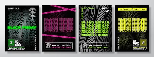 Neon black friday tipografia banner poster o modelli di flayers raccolta creativa synth wave gri...