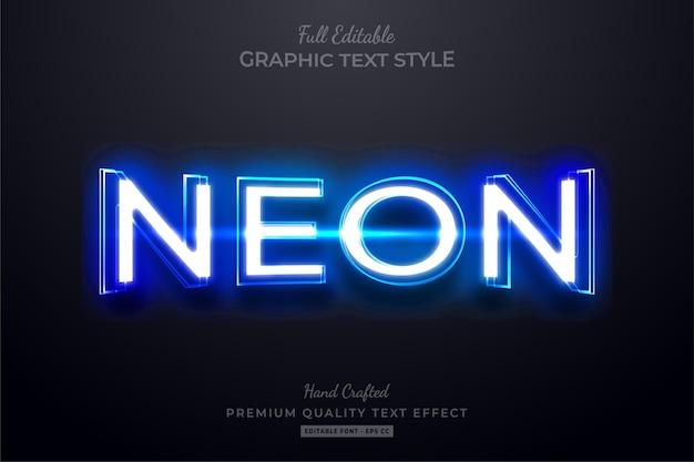 Effetto stile testo modificabile blu al neon