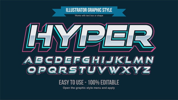 Neon blue futuristic chrome italic sports editable text effect