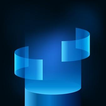 Vetrina del palco del podio con display futuristico moderno al neon blu sfumato per prodotto tecnologico per cyber, ologramma, dati, vr. sfondo scuro bagliore.