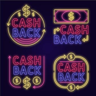 Accumulazione del segno di cashback al neon