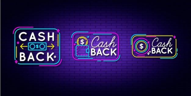 Insieme del segno di cashback al neon