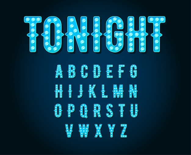 Alfabeto della lampadina in stile neon casino o broadway signs