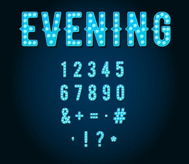 Cifre o numeri della lampadina di stile dei segni al neon del casinò o di broadway