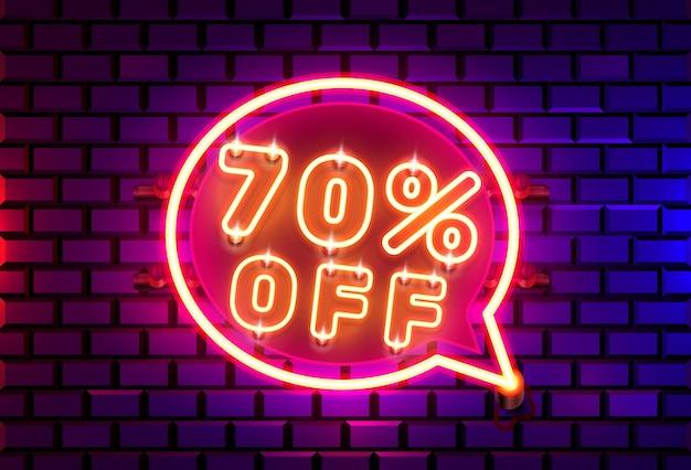 Neon chat frame 70 off banner di testo. scheda del segno di notte.