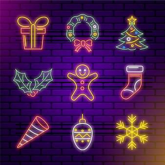 Insieme di elementi di natale al neon