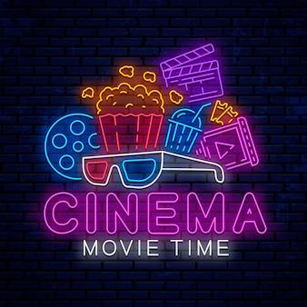 Elementi del cinema al neon Vettore Premium