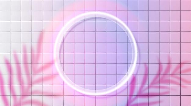 Bordo incandescente della cornice del cerchio al neon sulla parete in ceramica rosa foglie sfocate ombra sfondo futuristico