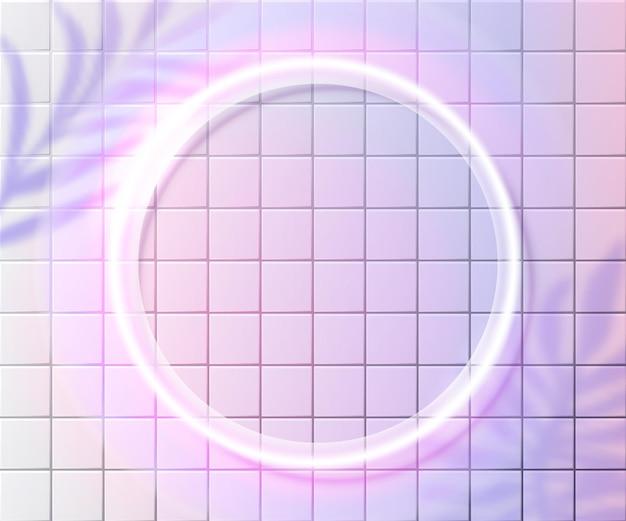 Cornice circolare al neon sulla parete di piastrelle rosa, cornice bianca incandescente. sovrapposizione di ombre di foglie di palma tropicali. design di sfondo fluorescente alla moda.