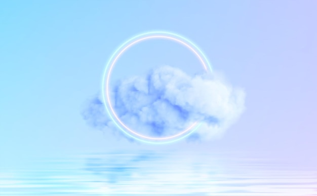 Forma di cerchio al neon in una nuvola di nebbia che si riflette nell'acqua.
