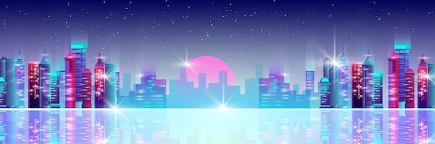 Sfondo città al neon con grattacieli del centro