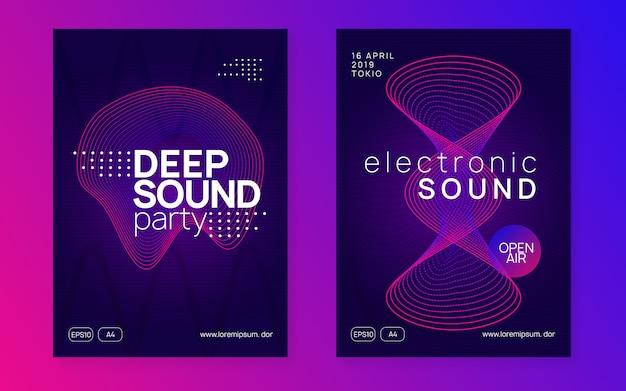 Volantino del club al neon. musica dance elettronica. trance party dj. festa del suono elettronico. locandina dell'evento techno.