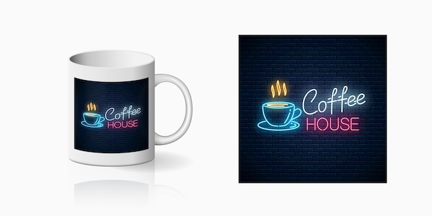 Stampa neon caffè sulla tazza Vettore Premium