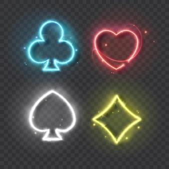 Simboli colorati al neon mazzo di carte per giocare a poker e casinò su sfondo nero