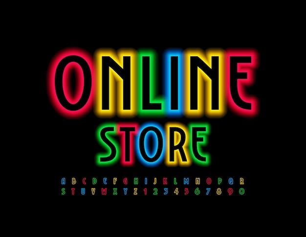 Neon colorato negozio online incandescente font illuminato luminoso alfabeto lettere e numeri impostati
