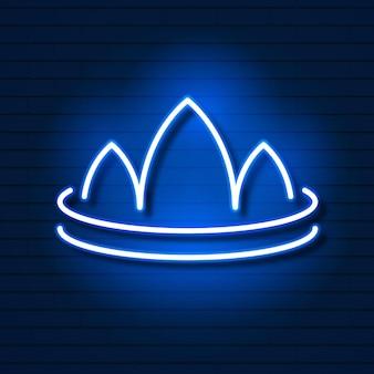Corona al neon sul logo del muro di mattoni per il web design. illustrazione vettoriale