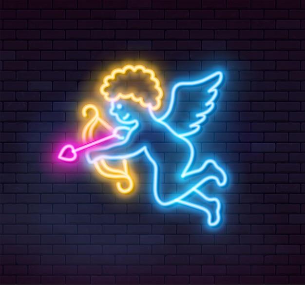 Cupido al neon su sfondo scuro. illustrazione vettoriale.