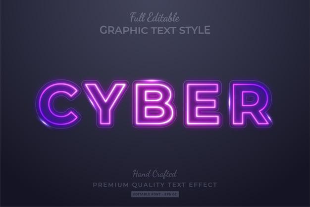Neon cyber modificabile stile di testo personalizzato effetto premium