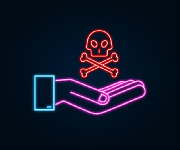 Segnale di pericolo al neon nelle mani su sfondo scuro. illustrazione vettoriale.