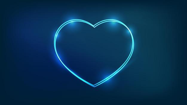Cornice doppia neon a forma di cuore con effetti brillanti su sfondo scuro. sfondo techno incandescente vuoto. illustrazione vettoriale.