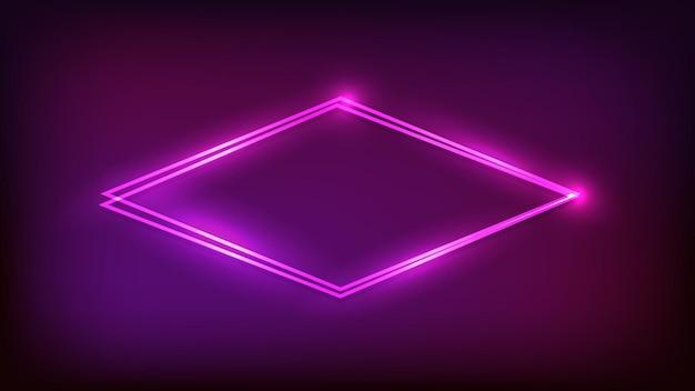 Cornice a doppio rombo al neon con effetti brillanti su sfondo scuro. sfondo techno incandescente vuoto. illustrazione vettoriale.