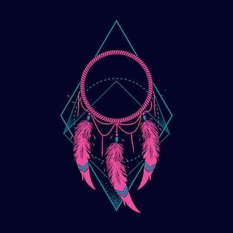 Illustrazione al neon dreamcatcher