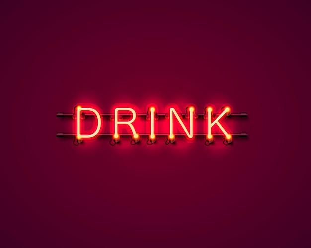 Insegna dell'icona del testo della bevanda al neon sullo sfondo rosso. illustrazione vettoriale