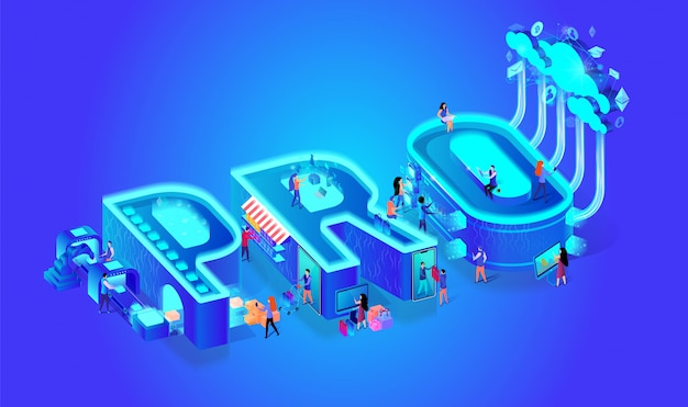 Neon effect isometric word pro. lettere creative.