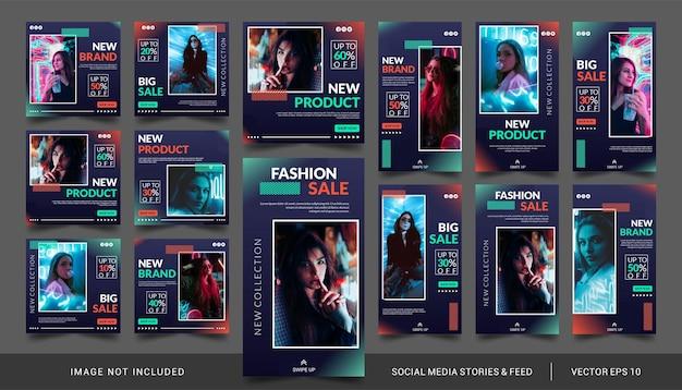 Storie di social media di vendita di moda al neon e banner di kit di pacchetti di feed post