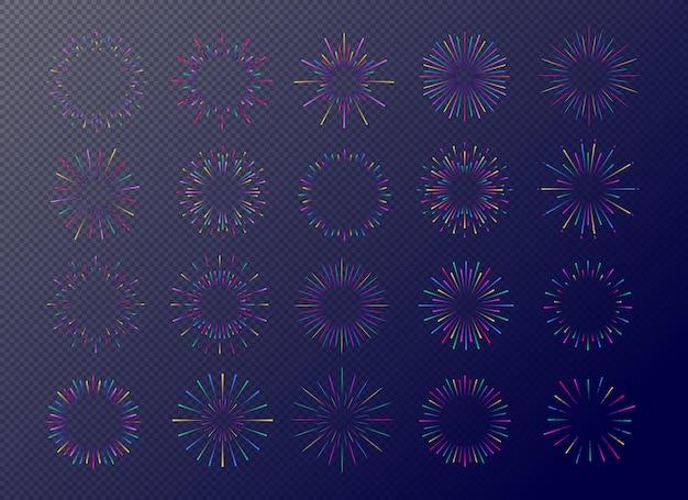 Set di fuochi d'artificio al neon isolato su sfondo trasparente per tag, emblema