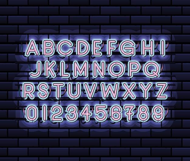 Alfabeto dei caratteri al neon e numeri di colore rosa e blu su disegno dell'illustrazione blu scuro