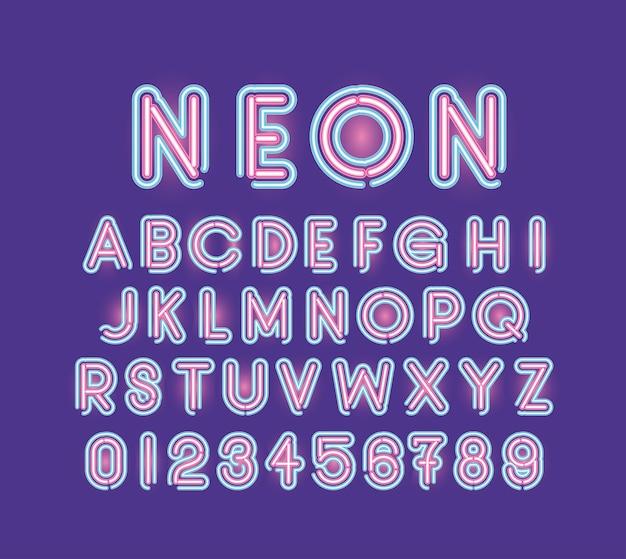 Alfabeto dei caratteri al neon e numeri di colore rosa e blu su disegno di illustrazione viola