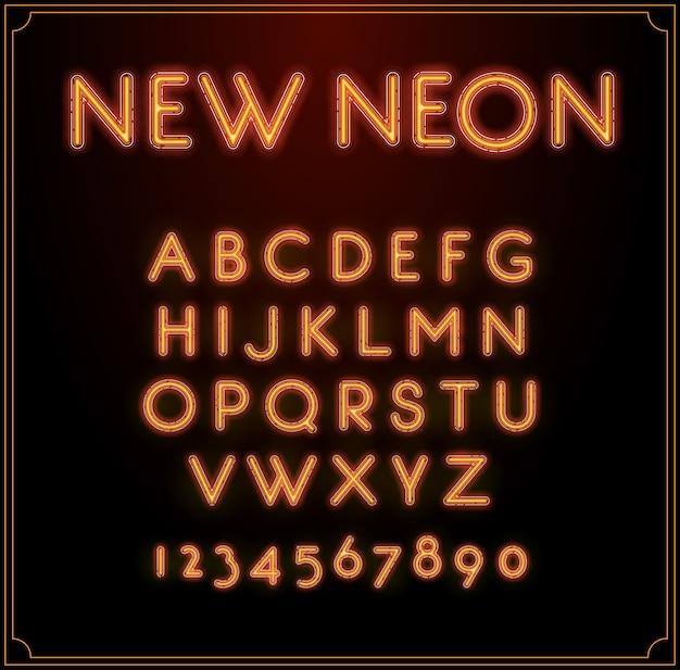Alfabeto di tipo di carattere al neon. incandescente con i numeri.