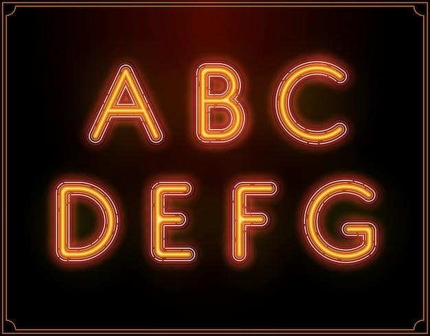 Alfabeto di tipo di carattere al neon. incandescente.