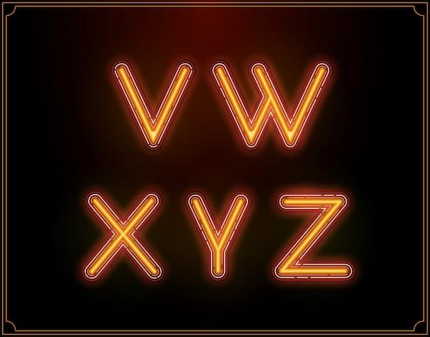 Illustrazione di alfabeto di tipo di carattere al neon
