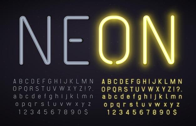 Carattere al neon con luce accesa e spenta. alfabeto incandescente, numeri e segni di punteggiatura con effetto luminoso