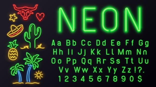 Caratteri al neon con segni