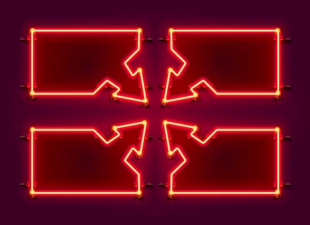 Insieme di set di frecce cornice al neon. elemento di design del modello.