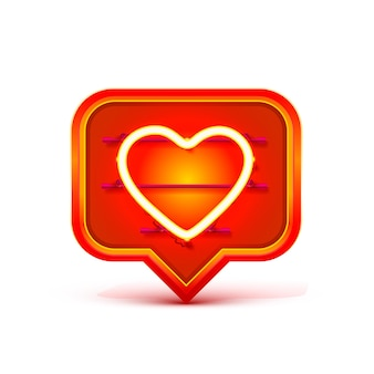 Segno di chat con cornice al neon a forma di cuore. elemento di design del modello. illustrazione vettoriale