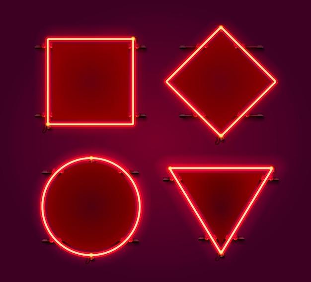 Insieme di set di figure cornice al neon. elemento di design del modello.