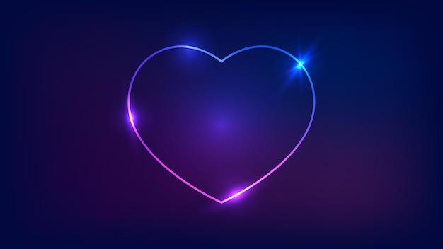 Cornice al neon a forma di cuore con effetti brillanti su sfondo scuro. sfondo techno incandescente vuoto. illustrazione vettoriale.