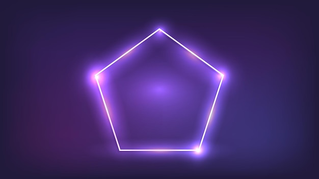 Cornice neon a forma di pentagono con effetti brillanti su sfondo scuro. sfondo techno incandescente vuoto. illustrazione vettoriale.