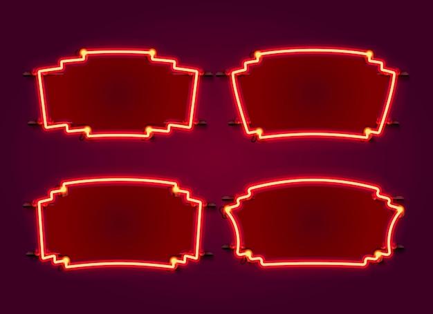 Collezione di set di frame al neon. elemento di design del modello.