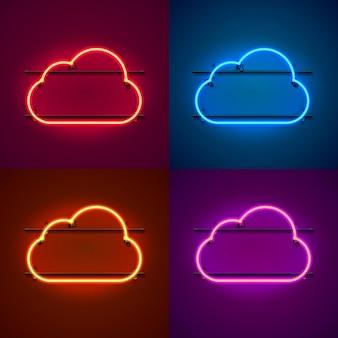 Insegna al neon con cornice a forma di nuvola. imposta il colore. elemento di design del modello. illustrazione vettoriale