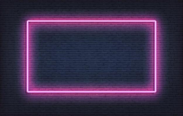 Modello di segno cornice al neon. realistico cartello viola design incandescente